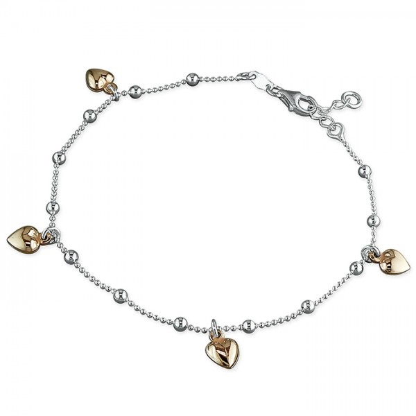 Sterling Silver Rose Plated Multi Heart Charm Anklet