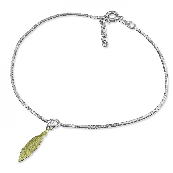 Sterling Silver Feather Charm Anklet