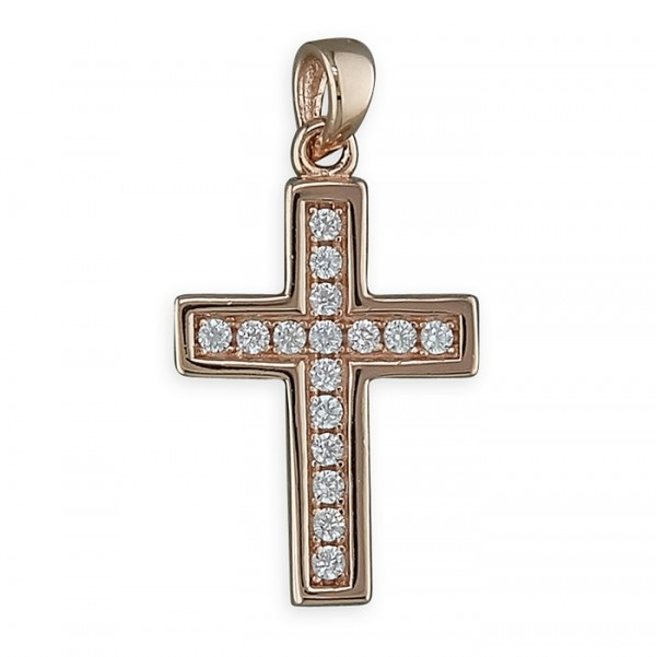 "Sterling Silver Rose Gold Plate Cubic Zirconia Cross Pendant & 18"" Chain"