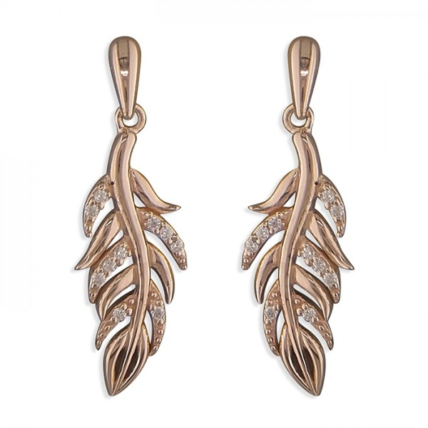 Sterling Silver Rose-Plated Cubic Zirconia Feather Drop Earrings