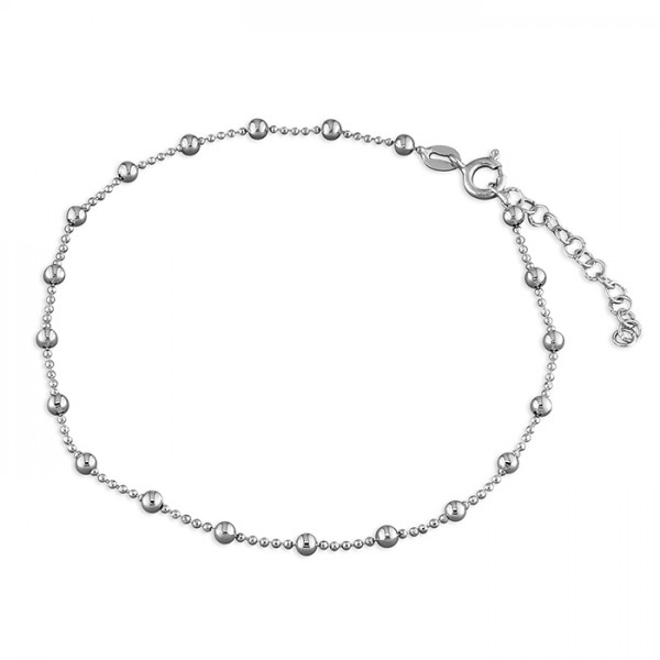 Sterling Silver Bead Chain with Beads Anklet