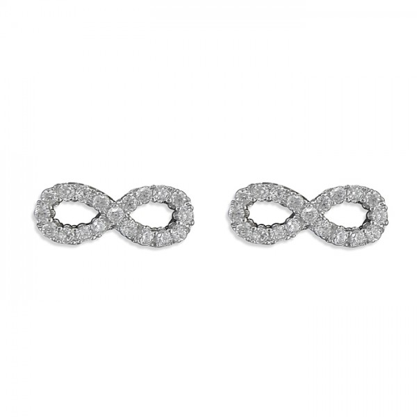 Sterling Silver Cubic Zirconia Infinity Stud Earrings