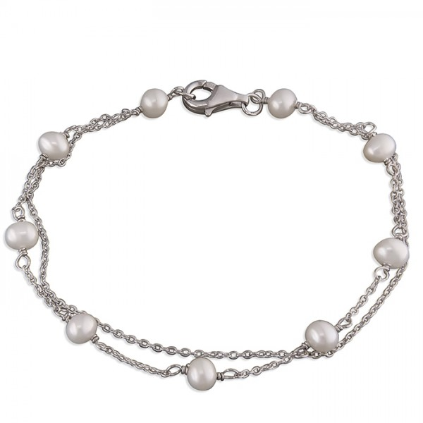 Sterling Silver Freshwater Pearls on Double Chains Bracelet