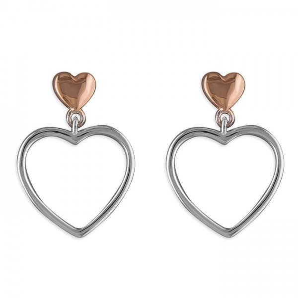Sterling Silver Rose-Plated Heart with Silver Open Heart Drop Earrings