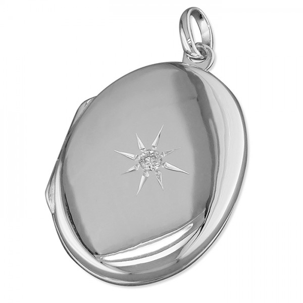 "Sterling Silver Oval Cubic Zirconia Locket & 18"" Chain"