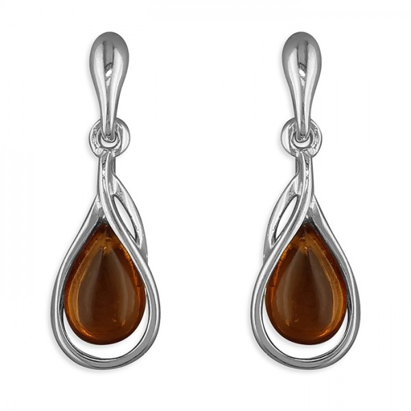 Sterling Silver Teardrop Amber Drop Earrings