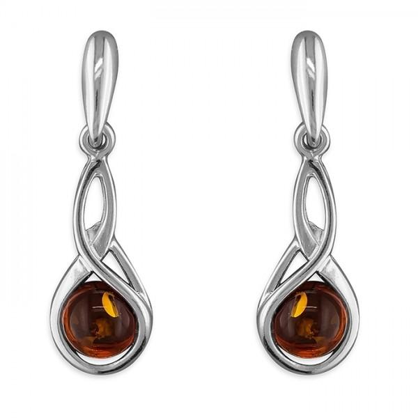 Sterling Silver Amber Fancy-Loops Drop Earrings