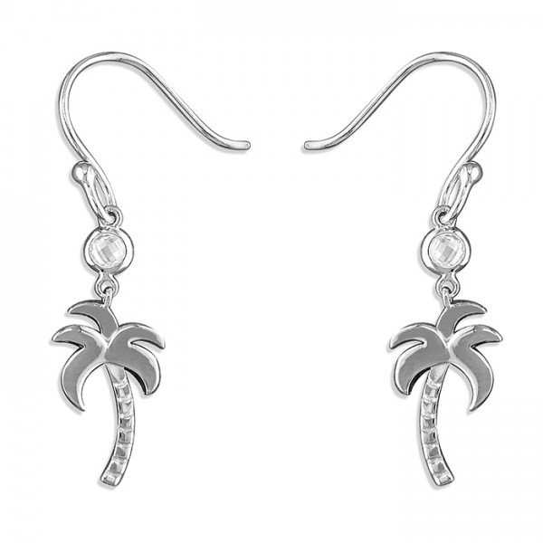 Sterling Silver Cubic Zirconia Palm Tree Hook Drop Earrings