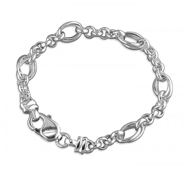 Sterling Silver Fancy Belcher Bracelet