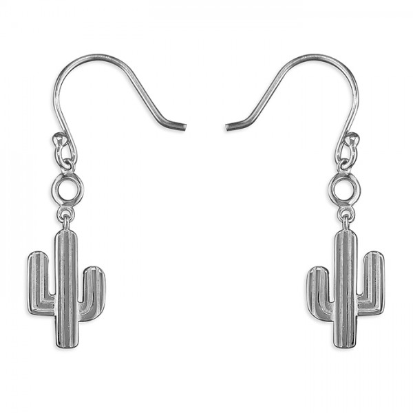 Sterling Silver Cubic Zirconia Cactus Hook Drop Earrings