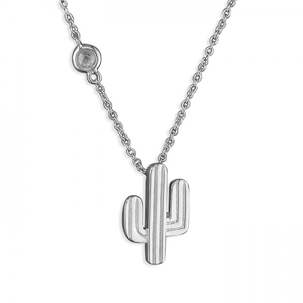 Sterling Silver Cubic Zirconia Cactus Necklace