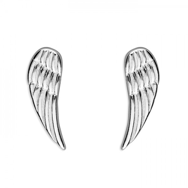 Sterling Silver Plain Angel Wing Stud Earrings