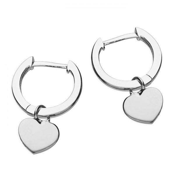 Sterling Silver Huggie Hoop with Heart Earrings