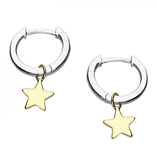 Sterling Silver Small Huggie Hoop with Gold Plate Star Charm Earrings