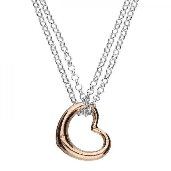 Sterling Silver Rose Gold Plated Open Heart Necklace