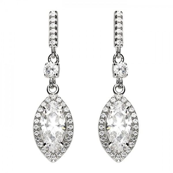 Sterling Silver Cubic Zirconia Marquis Halo Drop Earrings