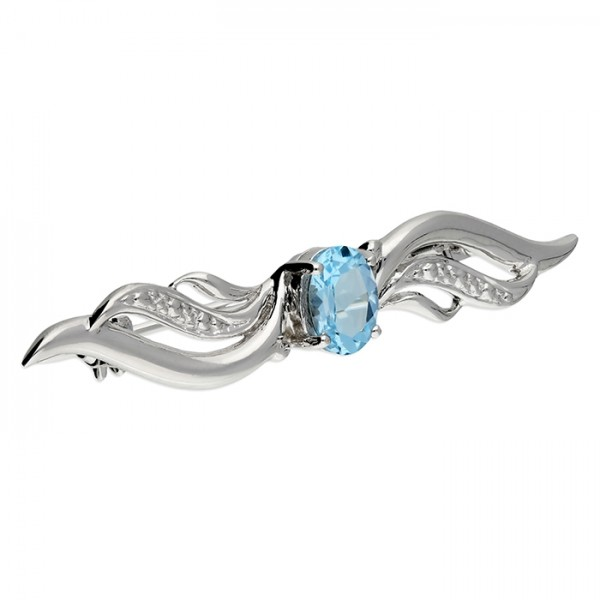 Sterling Silver Blue Topaz with Wings Brooch