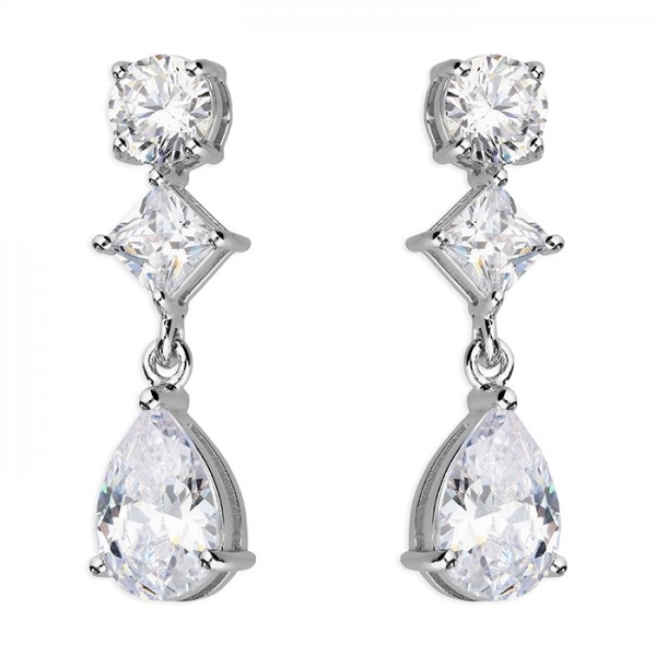 Sterling Silver Cubic Zirconia Round Princess Pear Drop Earrings