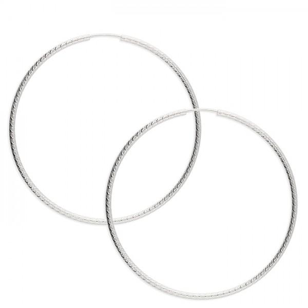 Sterling Silver 60mm Embossed Sleeper Hoop Earrings
