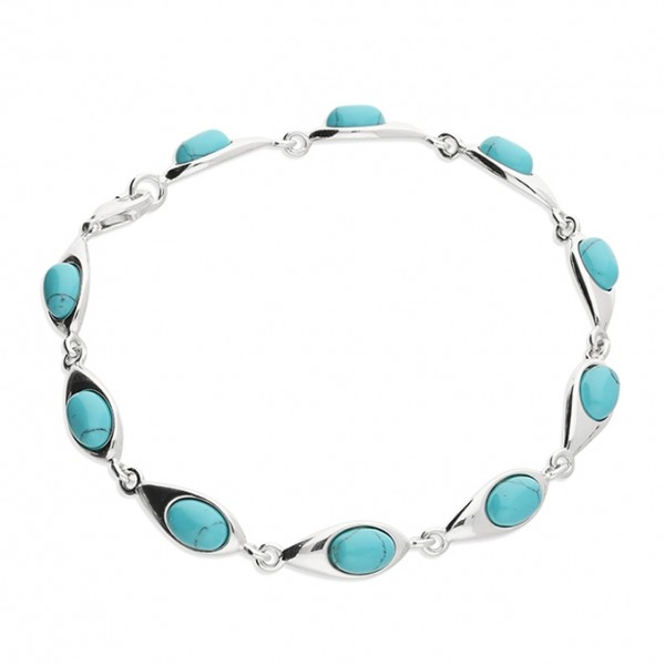 Sterling Silver Reconstituted Turquoise Bracelet