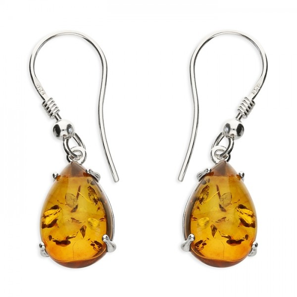 Sterling Silver Teardrop Amber Hook Drop Earrings