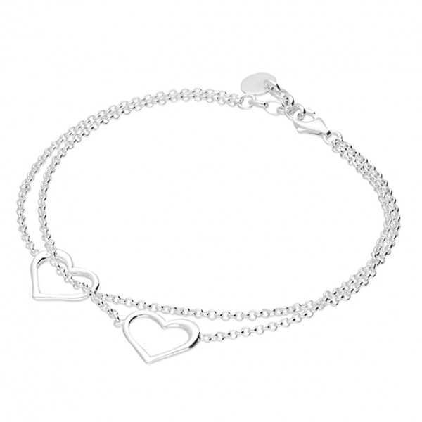 Sterling Silver Double Open Heart Chain Bracelet