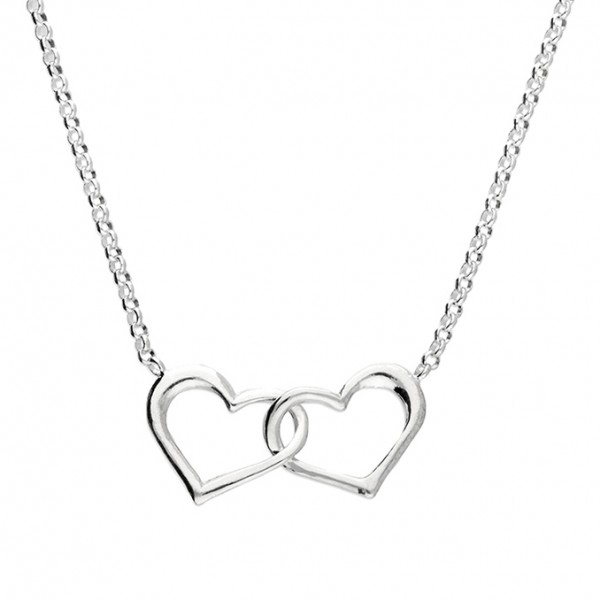 Sterling Silver Two Interlinked Open Hearts Necklace