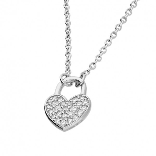 Sterling Silver Cubic Zirconia Heart Padlock Necklace