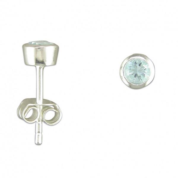 Sterling Silver Round Blue Topaz Stud Earrings