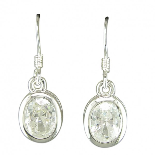 Sterling Silver Oval Cubic Zirconia Drop Earrings