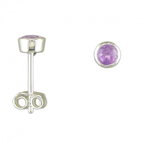 Sterling Silver Round Amethyst Stud Earrings
