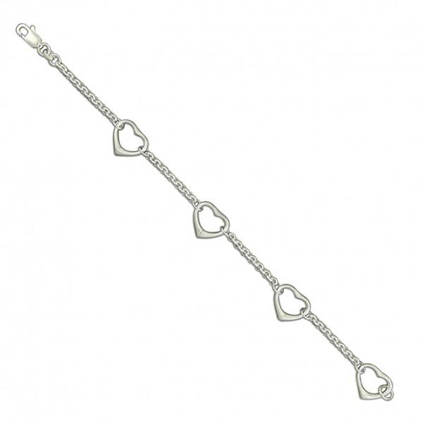 Sterling Silver Multi Open Heart Chain Bracelet