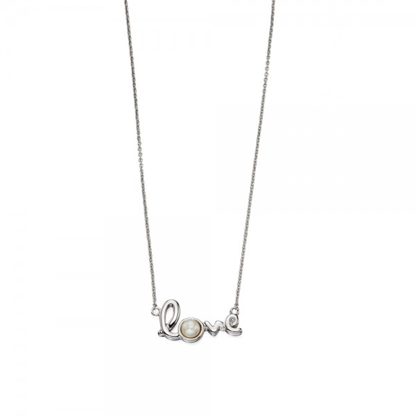 D for Diamond Silver Pearl Love Necklace
