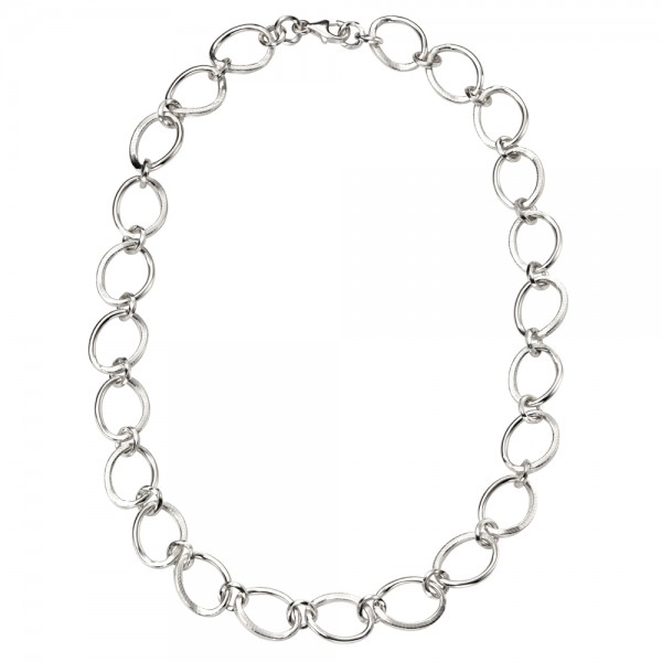 Sterling Silver Open Oval Links Necklace