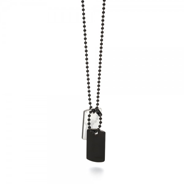 Fred Bennett Men's Stainless Steel & Black IP Plated Dog Tag Necklace