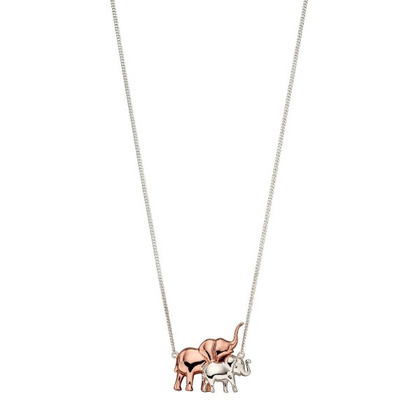 Sterling Silver Rose Gold Plated Mum & Baby Elephant Necklace