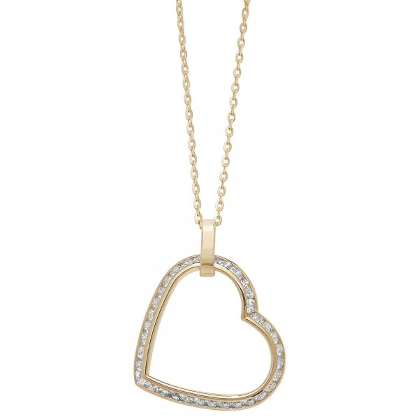 "9ct Yellow Gold Cubic Zirconia Open Heart 18"" Necklace"