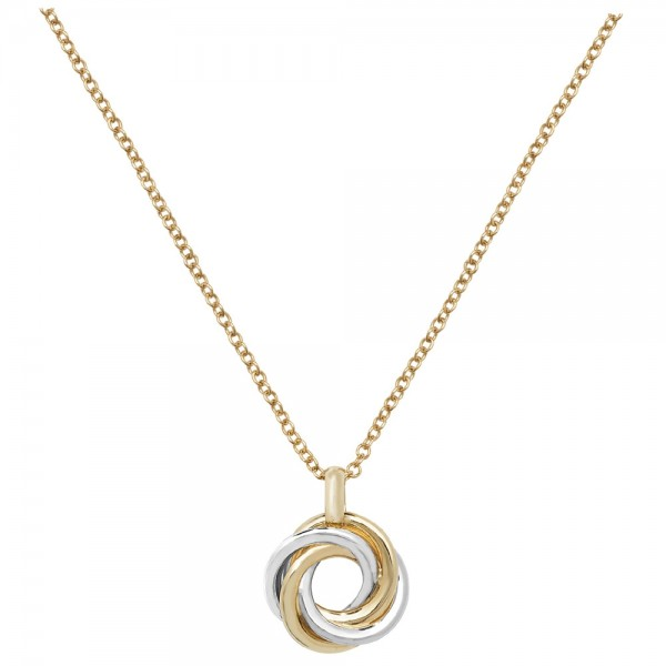 "9ct Two-Colour White/Yellow Gold Open Knot 16"" + 1"" Necklace"