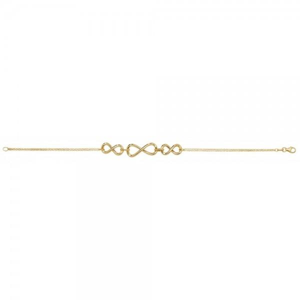 9ct Yellow Gold Triple Infinity Bracelet