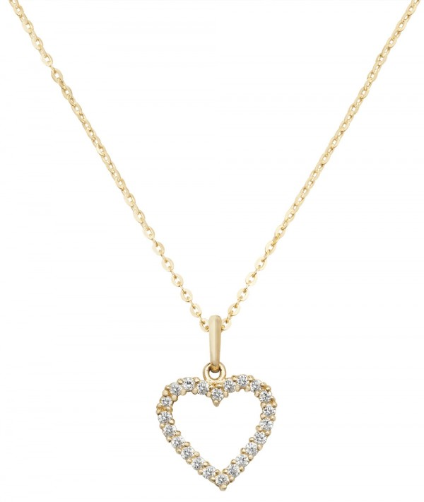 "9ct Gold Open Heart CZ 18"" Necklace"