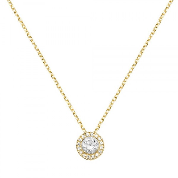 "9ct Yellow Gold Cubic Zirconia Cluster 18"" Necklace"