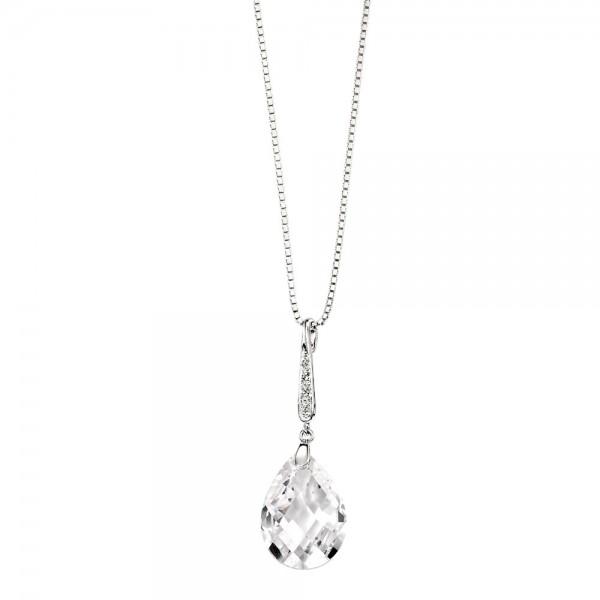 "P3076C Sterling Silver Teardrop Cubic Zirconia Pave Bail Drop Pendant & 18"" Chain"