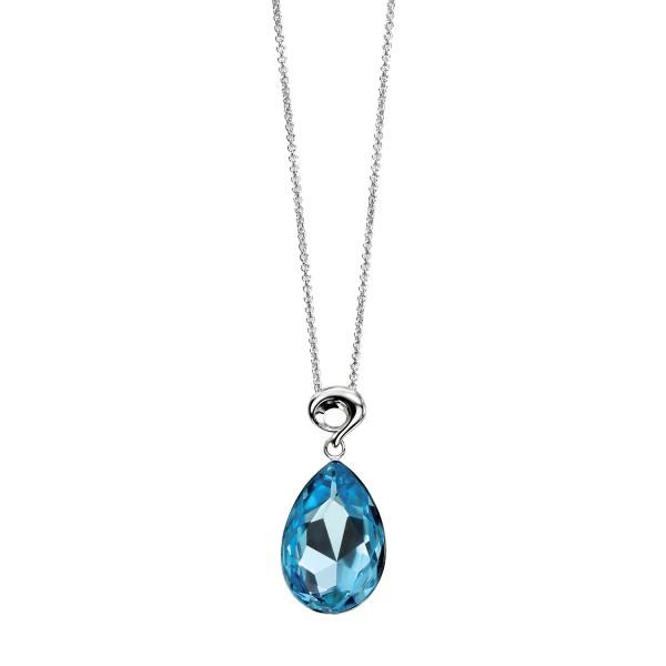 Sterling silver swarovski crystal teardrop pendant 18 chain sterling silver blue swarovski crystal teardrop pendant 18 chain mozeypictures Choice Image