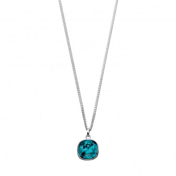 "Sterling Silver Blue Swarovski Crystal Pendant & 18"" Chain"