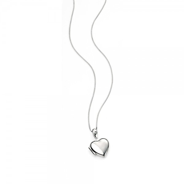 D for Diamond Silver Heart Locket