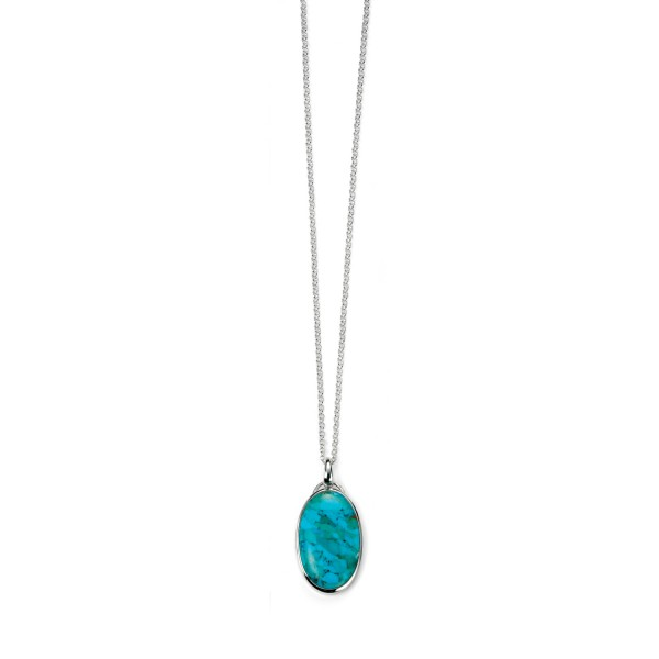 """Sterling Silver Oval Turquoise Pendant & 30"""" Chain"""