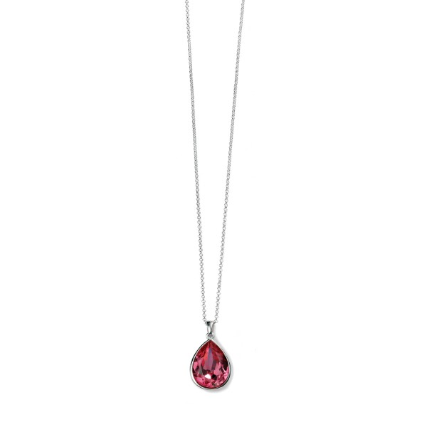 "Sterling Silver Pink Swarovski Crystal Teardrop Pendant & 18"" Chain"