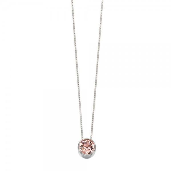 "Sterling Silver Pink Round Swarovski Crystal Pendant & 18"" Chain"