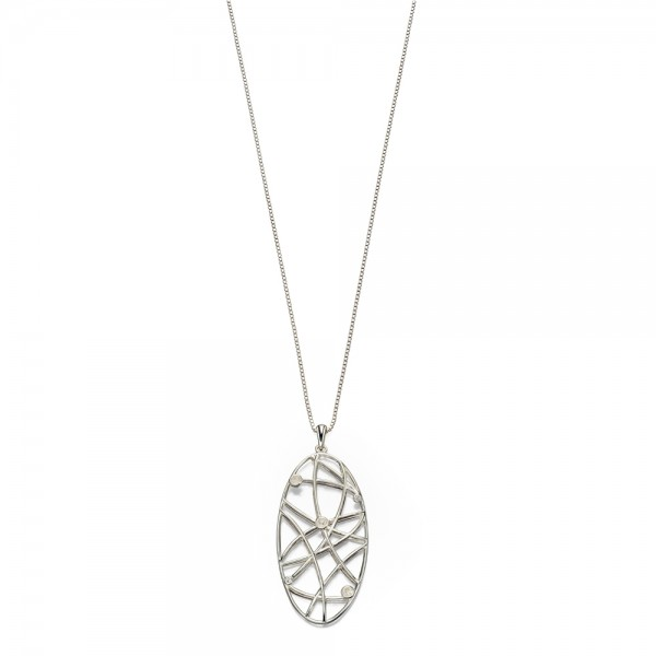 "Sterling Silver Open Work  CZ Set Pendant & 18"" Chain"