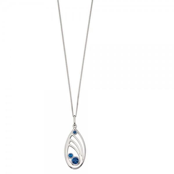 """Sterling Silver Blue Swarovski Crystal Open Teardop Pendant & 18"""" Chain"""